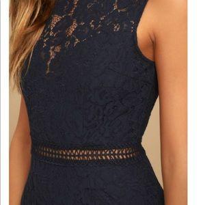 Lulu's Dresses - Lulus Music of the Heart Navy Blue Lace Maxi Dress